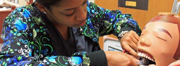 Orlando Tech Dental Assisting Program student in dental lab