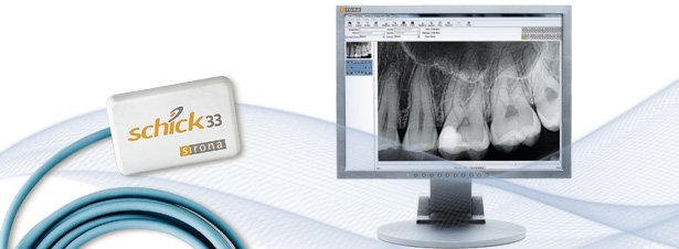 Still image of Schick 33 and a digital intraoral radiograph on screen